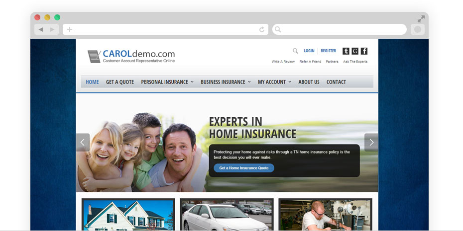 Insurance website design for CAROL.