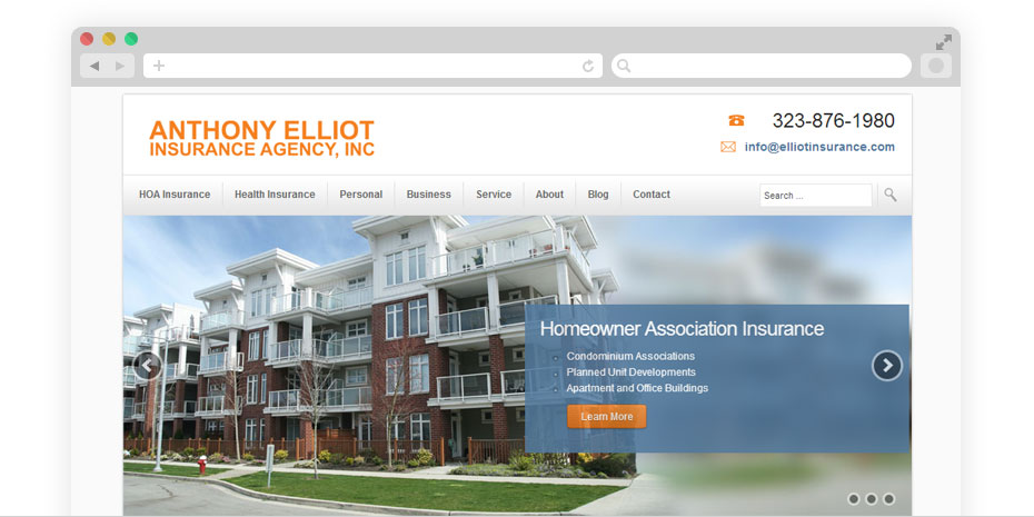 Insurance website design for Elliot.