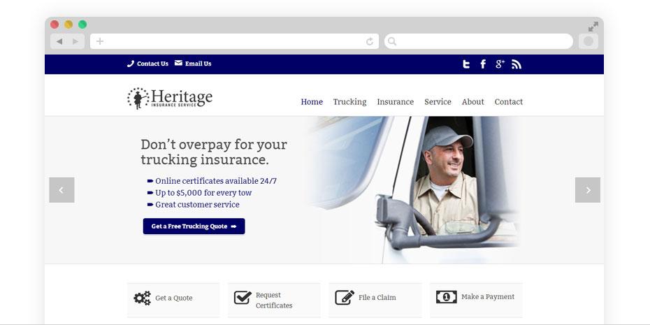 Insurance website design for Heritage.