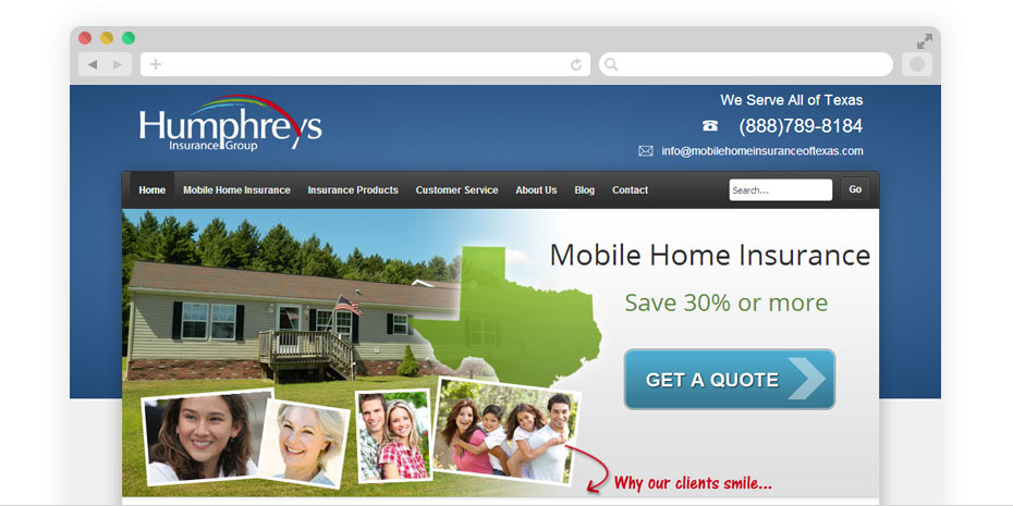 Insurance website design for Humphreys.