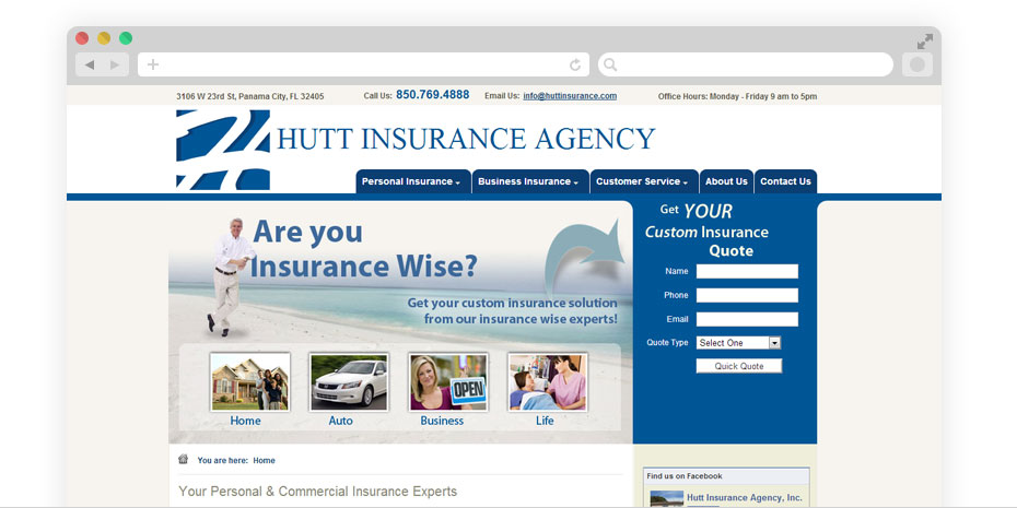Insurance website design for Hutt.