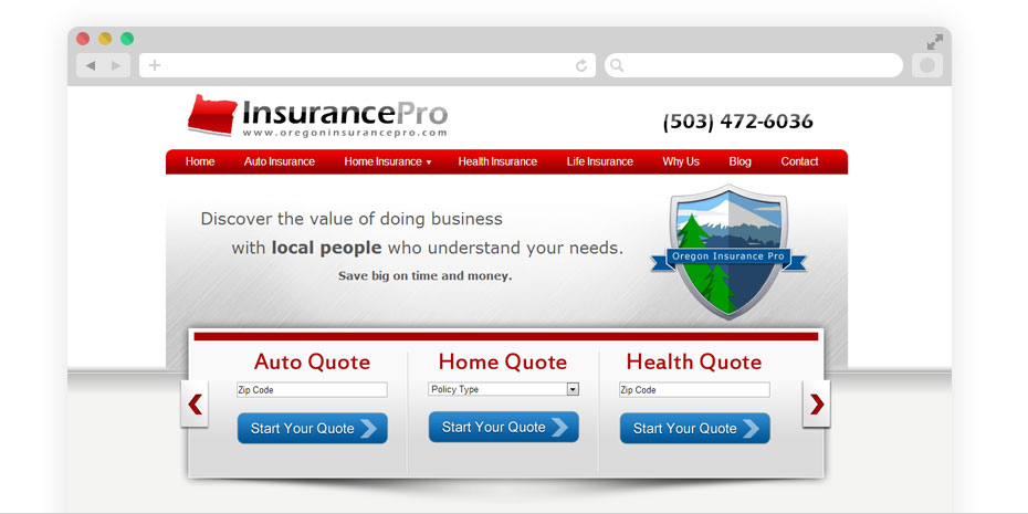 Insurance website design for Insurance Pro.