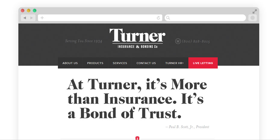 Insurance website design for Turner.
