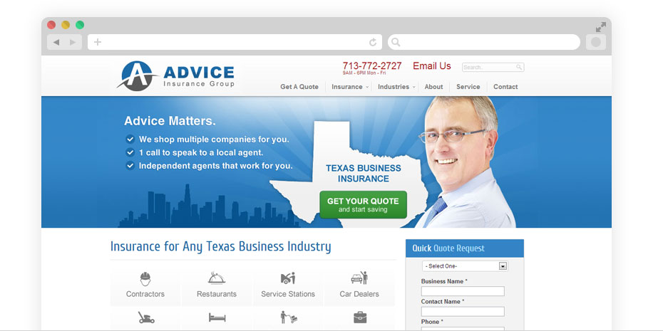 Insurance website design for Advice Business.