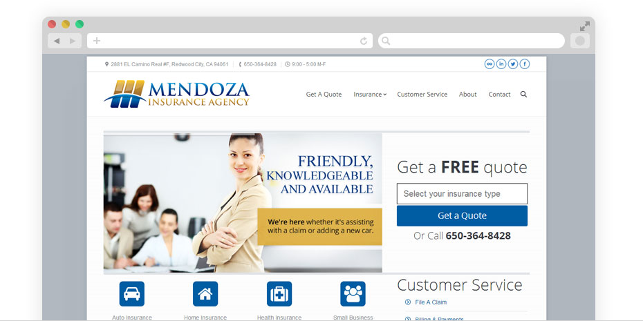 insurance website design for Mendoza Insurance Agency