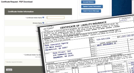 self service certificates of insurance tracking