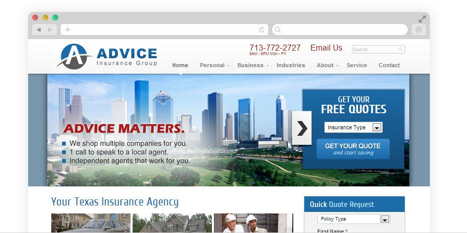 Insurance website design for Advice.
