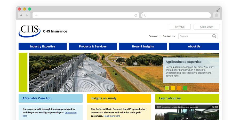 Insurance website design for CHS Insurance.