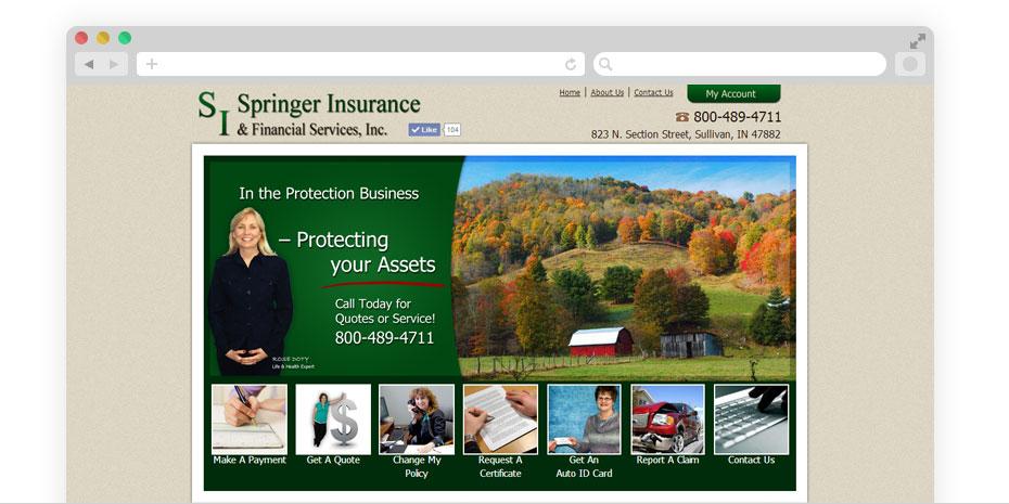 Insurance website design for Springer.