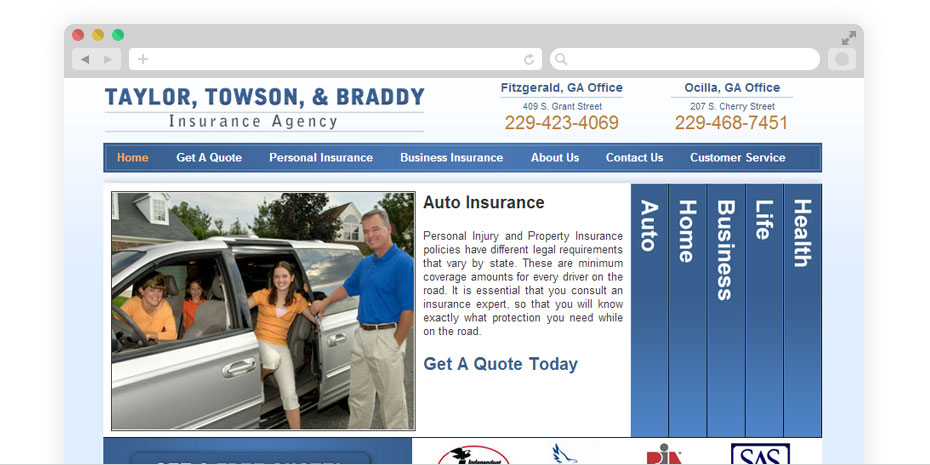 Insurance website design for TaylorTowson.com.
