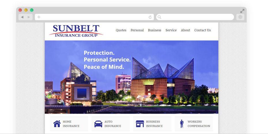 Insurance website design for Sunbelt.